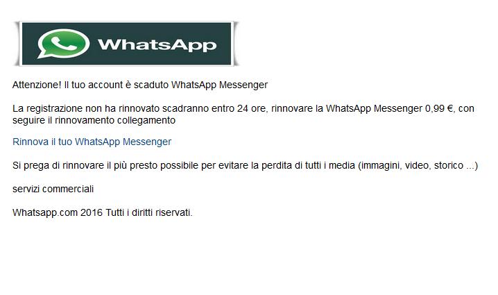 account WhatsApp Messenger è scaduto