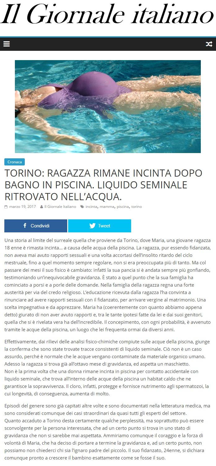 Torino: Ragazza rimane incinta dopo bagno in piscina. Liquido ...