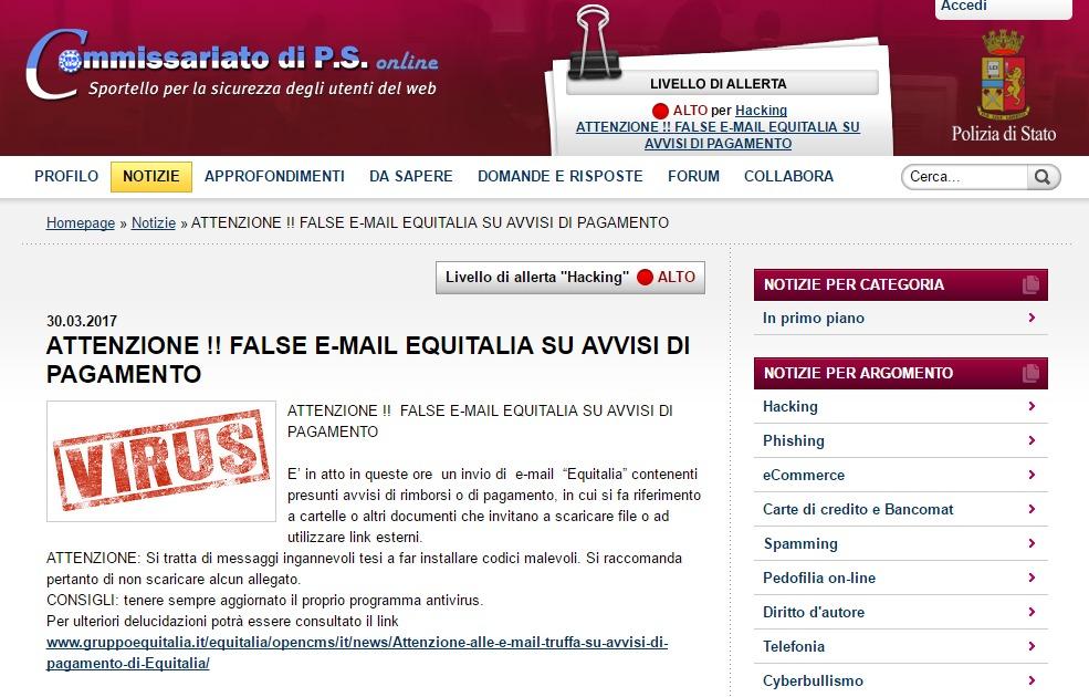E-mail truffa su avvisi di pagamento di Equitalia 1